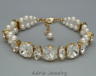 Gold Wedding Bracelet Swarovski Crystals Bridal Bracelet Pearls Wedding Bracelet Swarovski Bridal Jewellery