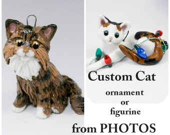 Custom Cat Pet from Photo Christmas Ornament Figurine Cake Topper Porcelain