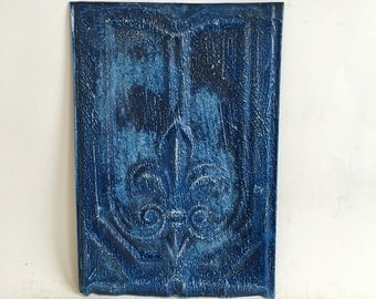 Antique Tin Ceiling Roof Tile 8.5 x 12.5 Royal Blue Reclaimed Metal  142-16