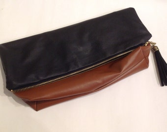 Foldover Clutch Faux Leather Black and Brown colorblock