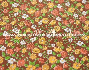 Autumn Garden - Vintage Fabric Mod Juvenile New Old Stock Daisies Zinnias
