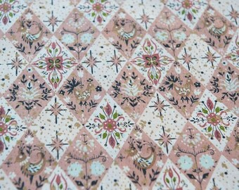 Mid Century Folk Art Atomic  -  Vintage Fabric 50s 60s New Old Stock Metallic 36 inches wide