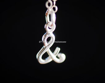 """Ampersand """"&"""" And Necklace - Solid 925 Sterling Silver Charm - Insurance Included"""