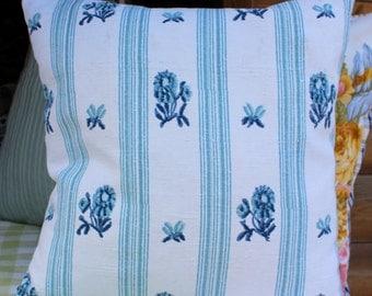 Cushion antique French blue stripe floral