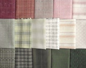 Japanese Taupe fabrics - 16 green and pink fat quarters