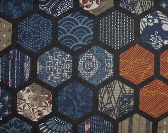 Japanese cotton print - 1/2 yard of navy Hexagons