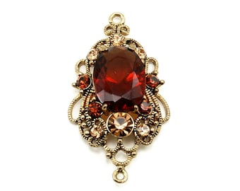 Art Nouveau Double Connector w/ Faceted Jewel Accents - Double Connector Filigree Flourish / Focal Pendant in Amber, Champaign, Gold Tones