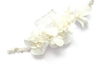 Silk Hair Flower Bridal Comb | Marigold
