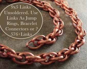 BOGO SALE 6 Feet Vintage Bare Raw Copper Plt Steel Chain 5mm x 9mm Jump Ring Charm Bracelet Watch Fob Cable Rope 17g Half Round Wire Links