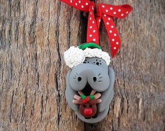 Santa Manatee with Reindeer Ornament