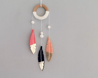 Feather Dream Catcher with Gold Dipped Feathers. Felt Wall Hanging. Modern Bohemian Decor.  Dreamcatcher Coral. Handmade by OrdinaryMommy