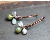 On Sale Vesuvianite Moonstone Earrings Copper Wire Wrapped Gray Green Gemstone Earrings Rustic Jewelry Clover Triple Briolette Drop