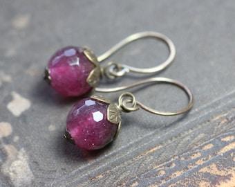 Raspberry Pink Quartz Earrings Brass Leaf Rustic Jewelry Pink Earrings Burgundy Berry