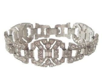 Trifari Art Deco Vintage Bracelet, 1930s KTF Designer, Statement Rhinestone Jewelry, Bridal Jewelry, Wedding Jewellery