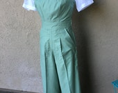 SALE Darling 1940s style Rosie overalls S or L Mint Green Twill