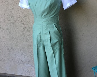 SALE Darling 1940s style Rosie overalls S only Mint Green Twill