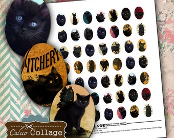 Black Cats Digital Collage Sheet 18x25mm Oval Images Digital Sheet Printable Download for Earrings Charms Bracelet Settings Bezels