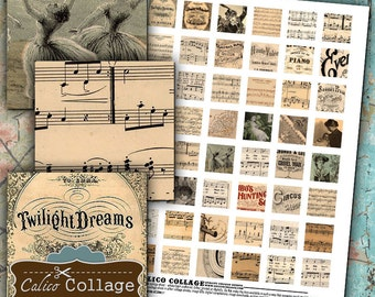 1800s Sheet Music Digital Collage Sheet Printable 1x1 Inch Inchies for Pendants, Magnets, Resin Jewelry, Bezel Settings, Digital Sheet