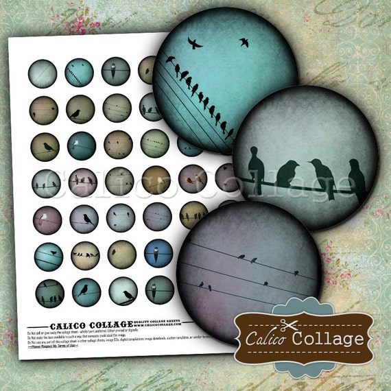 Birds on a Wire Digital Collage Sheet Printable for Bottlecap Images, Cabochons, Cameos, Scrapbooking, Junk Journals, Digital Images