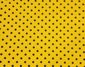 Knit new yellow with black small dots 1 yard cotton lycra knit