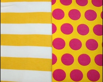 New knit fabric duo yellow white stripes and yellow pink dots