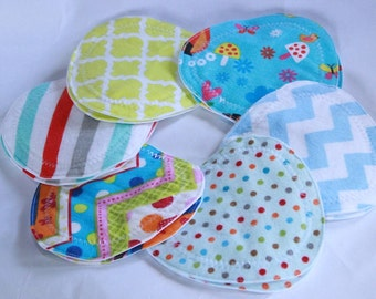 Nursing pads, Flower Petal/triangle shape nursing pads, nursing  breast pads, colorful, flannel , zorb, pul, 6 pair