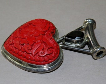Cinnabar, Garnet and Sterling Heart Pendant