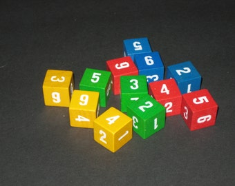 12 Wooden Number Cubes or Dice  for Altered Art, Crafts, etc.