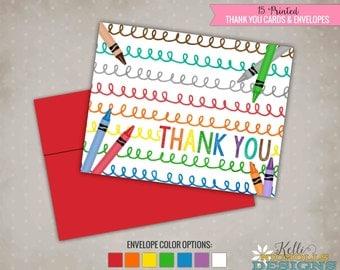 Crayon Scribble Thank You Cards, Crayon Thank You Notes #B135