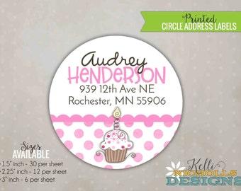 Pink Cupcake Party Circle Return Address Labels, Custom Pinkalicious Inspired Sticker #B101