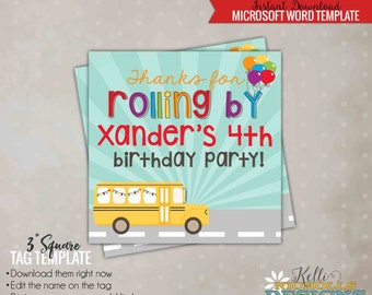 Wheels on the Bus Party Favor Tag Template, Children's School Bus Birthday, Instant Download #B121