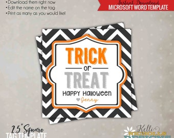 Printable Halloween Trick or Treat Tag, Halloween Goodie Bag Tag, Printable Instant Download