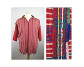 Vintage 70s Hippie Dashiki  Top OS Fringed South American Handmade