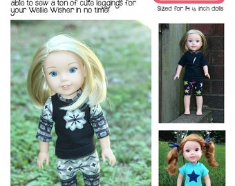 Leggings for Wellie Wishers Dolls Knit PDF Sewing Pattern Sized 14.5 inch dolls
