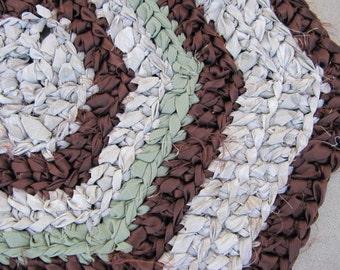 Browns crocheted hexagon rag rug, eco friendly, washable, brown rag rug, bath mat, durable,  kitchen rug, home decor, shabby chic