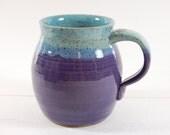 Large Pottery Mug, turquoise with purple grape glaze