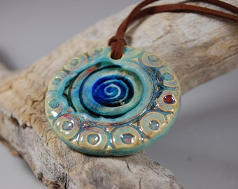 Glass Infused Pottery Pendant J04 Necklace, Boho Style, Sea Spray Glaze