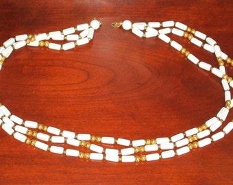 Trifari White and Gold Bead Necklace Multi Strand Retro Jewelry