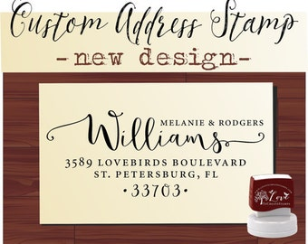 Custom Address Stamp Self Inking - Cute Connecting Heart Name Stamp - Handwriting Font Address Stamp - 1162K