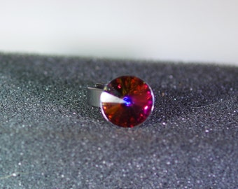 Swarovski Crystal Jewelry - Ring - Adjustable Size 5-9 - Shown with Swarovski Crystal Peacock Rivoli - Other Colors Available