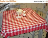 CLEARANCE SALE Vintage Tablecloth Red Plaid Picnic Checks