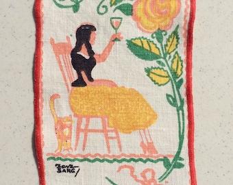 Vintage Tony Sarg Textile Lady Makes a Toast