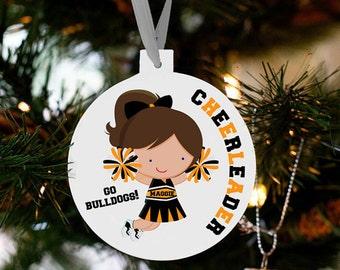 Cheerleader ornament - personalized custom cheer Christmas ornament CCO
