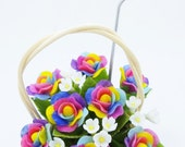 Rainbow Roses Miniature Polymer Clay Flowers Supplies in ivory rattan basket 1 piece