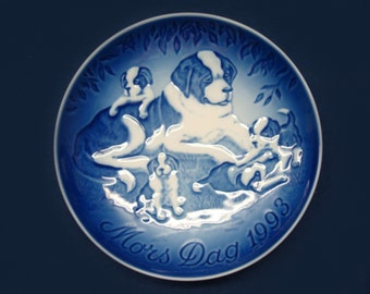 Vintage 1993 B&G Mother's Day Plate -  Mother St Bernard and Four Puppies, Blue and White Porcelain, Bing and Grondahl