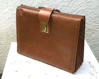 Classic Vintage Pecan Brown Leather Briefcase, Satchel or Portfolio, Brass Hardware, By Lion Leather Products, Top Grade Cowhide Leather