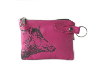 SALE leather wallet pink wild boar screenprint