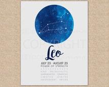 Space Nursery Decor, Leo Zodiac, Leo Constellation, Baby Nursery Art, Kids Room Art, Nursery Decor // ArtPrint or Canvas // N-XC01-1PS AA1