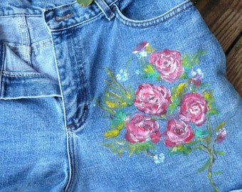 Handpainted Denim Blue Jean Shorts Pink Red Roses Women's Clothing One of a Kind Free Shipping
