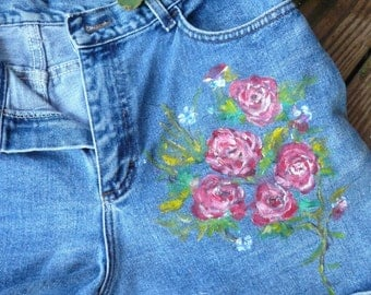 Handpainted Denim Blue Jean Shorts Pink Red Roses Women's Clothing One of a Kind